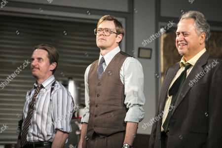 Oliver Ryan (Baylen), Kris Marshall (John Williamson) and Stanley Townsend (Shelley Levene) during the curtain call
