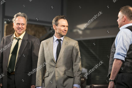 Stanley Townsend (Shelley Levene), Christian Slater (Ricky Roma) and Robert Glenister (Dave Moss) during the curtain call