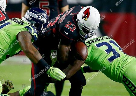 Arizona Cardinals running back Adrian Peterson (23) fumbles the football as Seattle Seahawks strong safety Kam Chancellor (31) and defensive tackle Sheldon Richardson make the hit prior to an NFL football game, in Glendale, Ariz. The Seahawks recovered the ball
