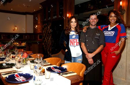 From L-R), Host of NFL Network's Good Morning Football, Kay Adams, Chef Christopher Zabita and LaLa Anthony host an NFL Homegating celebration featuring product from NFLShop.com at Society Café, in New York