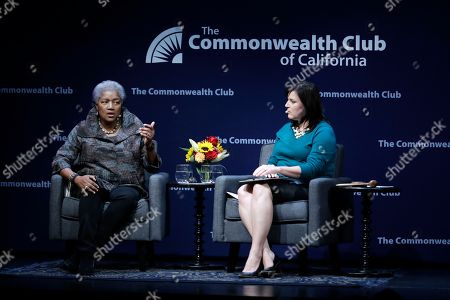 Donna Brazile, Audrey Cooper. Former Democratic National Committee chair Donna Brazile, left, speaks alongside moderator Audrey Cooper, Editor in Chief of the San Francisco Chronicle, during a meeting of The Commonwealth Club, in San Francisco