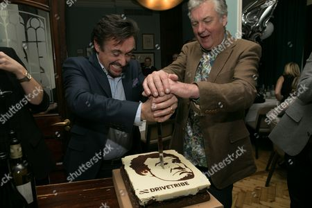 Richard Hammond and James May celebrate the first birthday of DriveTribe, the world's largest online car community, with a cake featuring Jeremy Clarkson's face baked by Great British Bake Off winner Frances Quinn.