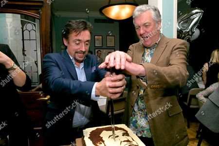 Stock Picture of Richard Hammond and James May celebrate the first birthday of DriveTribe, the world's largest online car community, with a cake featuring Jeremy Clarkson's face baked by Great British Bake Off winner Frances Quinn.