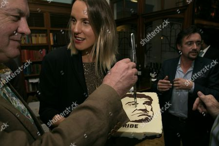 Stock Image of Richard Hammond and James May celebrate the first birthday of DriveTribe, the world's largest online car community, with a cake featuring Jeremy Clarkson's face baked by Great British Bake Off winner Frances Quinn.