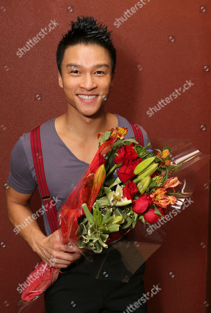"""Stock Picture of Cast member Ethan Le Phong poses during the party for the opening night performance of """"Seven Brides for Seven Brothers"""" at the La Mirada Theatre for the Performing Arts on in La Mirada, Calif"""