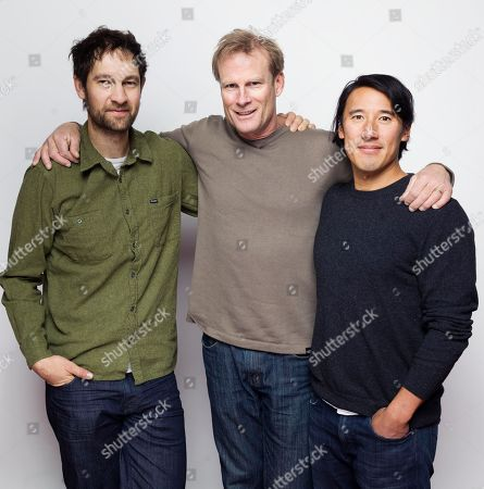 "Renan Ozturk, from left, Conrad Anker and director/writer Jimmy Chin pose for a portrait to promote the film, ""Meru"", at the Eddie Bauer Adventure House during the Sundance Film Festival, in Park City, Utah"