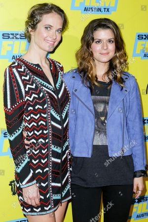"Rachel Blanchard, left, and Priscilla Faia arrive at the screening of ""You Me Her"" during South By Southwest at the Austin Convention Center, in Austin, Texas"
