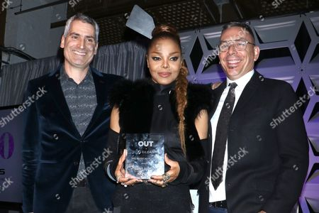 Aaron Hicklin (Editor; OUT Magazine), Janet Jackson and Joe Landry, OUT Magazine Executive VP