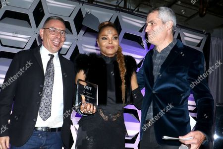 Joe Landry, OUT Magazine Executive VP, Janet Jackson and Aaron Hicklin (Editor; OUT Magazine)
