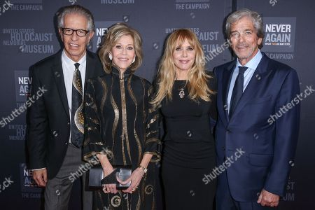 Richard Perry, from left, Jane Fonda, Rosanna Arquette and Todd Morgan arrive at the 2016 What You Do Matters Dinner at the The Beverly Hilton Hotel, in Beverly Hills, Calif