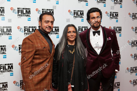 From left, Gulshan Grover, Deepa Mehta, and Randeep Hooda pose for photographers upon arrival at the Premiere of the film Beeba Boys, showing as part of the London Film Festival, in central London