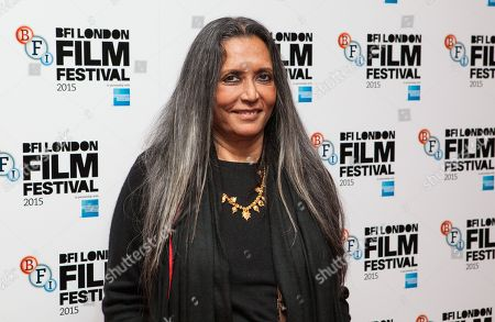 Film Director Deepa Mehta poses for photographers upon arrival at the Premiere of the film Beeba Boys, showing as part of the London Film Festival, in central London