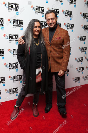 From left, Deepa Mehta and Gulshan Grover pose for photographers upon arrival at the Premiere of the film Beeba Boys, showing as part of the London Film Festival, in central London