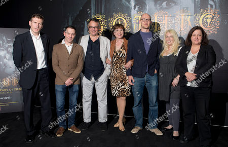 From left to right, journalist and broadcaster Danny Leigh, actors Reece Shearsmith and Charlie Higson, actress Madeline Smith, James Watkins, Director of The Woman in Black, Jane Goldman, Screenwriter of The Woman in Black, and Heather Stewart, Creative Director of BFI, pose during a photo call for the Press Launch of BFI: The Dark Heart Of Film, a project that celebrates one of Britainâ?™s biggest cultural exports and revealed through four fascinating themes, Monstrous, The Dark Arts, Haunted and Love is a Devil, at the BFI southbank in central London