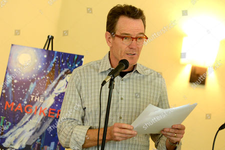 Stock Image of Bryan Cranston reads from 'The Magiker' by Charles Dennis at The Caribou Room at Sportsmen's Lodge on in Studio City, Calif