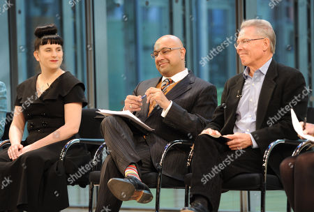 Stock Image of From left, Kat Kinsman, Ali Velshi and Craig McNamara attend the Food Dialogues: New York on in New York