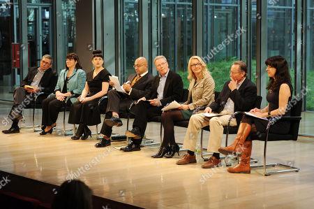 From left, Blake Hurst, Debbie Beauvais, Kat Kinsman, Ali Velshi, Craig McNamara, Carolyn O'Neil, Richard Ball, Tracie McMilllan attend the Food Dialogues: New York on in New York
