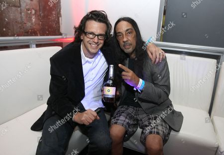 Artist Ryan McGinness left, and artist Futura 2000 are seen at the Hennessy V.S. launches limited edition bottle with Ryan McGinness event at Highline Stages, on in New York