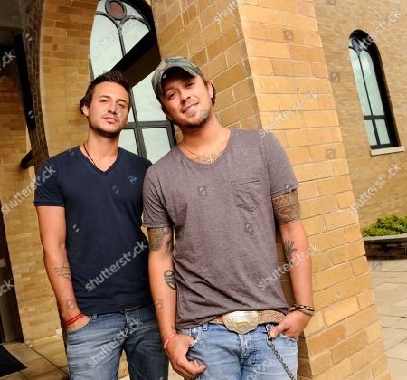 This photo shows country music duo Love and Theft, Eric Gunderson, left, and Stephen Barker Liles in Nashville, Tenn
