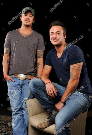 This photo shows country music duo Love and Theft, Stephen Barker Liles, left, and Eric Gunderson in Nashville, Tenn