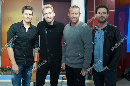 Musician Daniel Adair, singer Chad Kroeger and musicians Mike Kroeger and Ryan Peake of Nickelback seen on The Morning Show on in Toronto, Canada