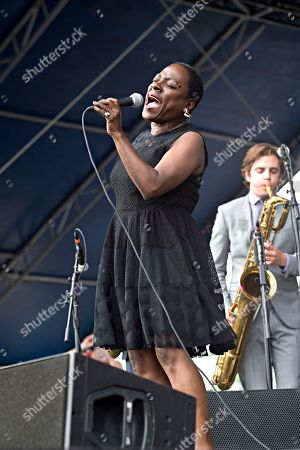 Sharon Jones and the Dap-Kings seen at Forecastle Music Festival at Waterfront Park, in Louisville, Ky