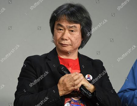 Stock Picture of Japanese video game designer and producer Shigeru Miyamoto makes an appearance at the Apple SoHo store to promote Super Mario Run for iOS, in New York