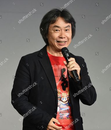 Stock Image of Japanese video game designer and producer Shigeru Miyamoto makes an appearance at the Apple SoHo store to promote Super Mario Run for iOS, in New York