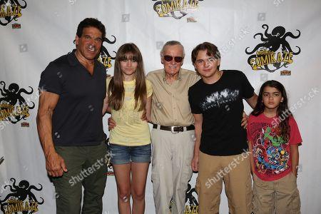 "LEE'S COMIKAZE EXPO â?"" Lou Ferrigno, Paris Jackson, Stan Lee, Prince Michael Jackson, and Prince Michael Jackson II pose for a photograph at Stan Lee's Comikaze Expo on in Los Angeles"