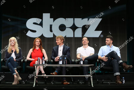 "From left, showrunner and executive producer Moira Walley-Beckett, Sarah Hay, Ben Daniels, Sascha Radetsky, and Josh Helman, from ""Flesh and Bone"", seen during the STARZ 2015 Summer TCA panel in Beverly Hills, Calif. on"