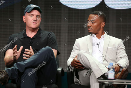 "Showrunner and executive producer Mike O'Malley, left, and RonReaco Lee, from ""Survivor's Remorse"", are seen during the STARZ 2015 Summer TCA panel in Beverly Hills, Calif. on"