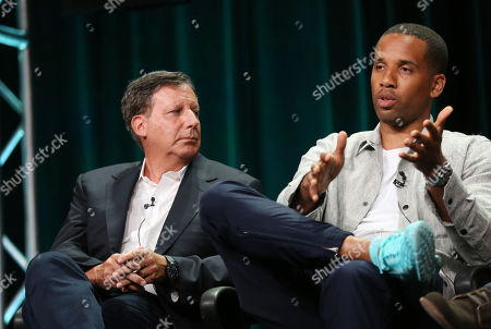 """Executive producers Maverick Carter, right, and Tom Werner, from """"Survivor's Remorse"""", are seen during the STARZ 2015 Summer TCA panel in Beverly Hills, Calif. on"""