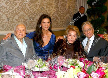 Stock Picture of Kirk Douglas, Catherine Zeta-Jones, Anne Buydens and Michael Douglas