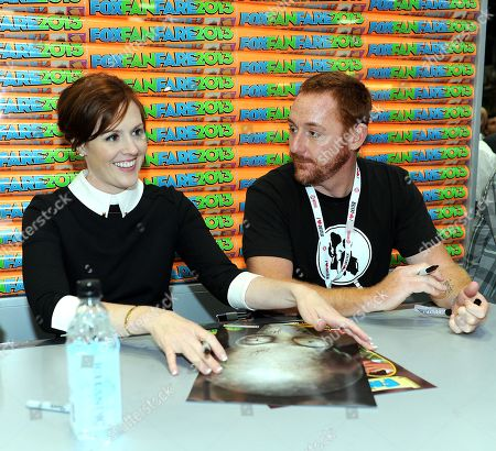 "From left, Scott Grimes, Rachael MacFarlane attend the FOX ""Family Guy & American Dad"" booth signing on Day 4 of Comic-Con International on in San Diego, Calif"