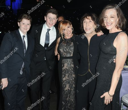 Kari Byron, center, Lily Tomlin, Joan Cusack and guests attend the 2013 Primetime Creative Arts Emmy Awards Governors Ball at the Nokia Theatre L.A. Live on in Los Angeles
