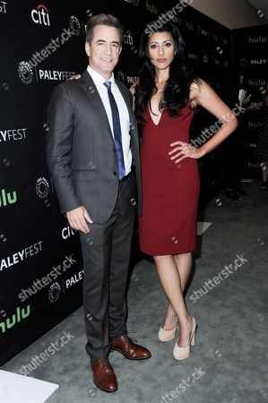 """Dermot Mulroney, left, and Reshma Shetty attend the """"Pure Genius"""" screening and panel discussion at the 2016 PaleyFest Fall TV Previews, in Beverly Hills, Calif"""