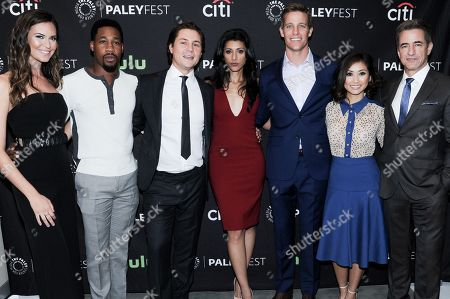 "Odette Annable, from left, Aaron Jennings, Augustus Prew, Reshma Shetty, Ward Horton, Brenda Song and Dermot Mulroney attend the ""Pure Genius"" screening and panel discussion at the 2016 PaleyFest Fall TV Previews, in Beverly Hills, Calif"