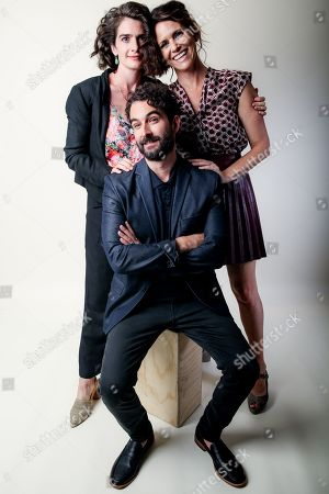"""Stock Image of Gaby Hoffman, from left, Jay Duplass and Amy Landecker, cast members in the Amazon series """"Transparent,"""" pose for a portrait during the 2016 Television Critics Association Summer Press Tour at the Beverly Hilton, in Beverly Hills, Calif"""