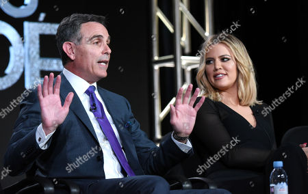 """Stock Image of Craig Piligian, left, and Khloe Kardashian participate in the panel for """"Kocktails with Khloe"""" at the FYI 2016 Winter TCA, in Pasadena, Calif"""