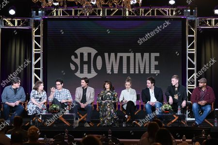 "Executive producer/ writer/ director Cameron Crowe, left, executive producers Winnie Holzman, from left, J.J. Abrams, actors Luke Wilson, Carla Gugino, Imogen Poot Peter Cambor, Colson Baker and Finesse Mitchell participate in the ""Roadies"" panel at the Showtime 2016 Winter TCA, in Pasadena, Calif"