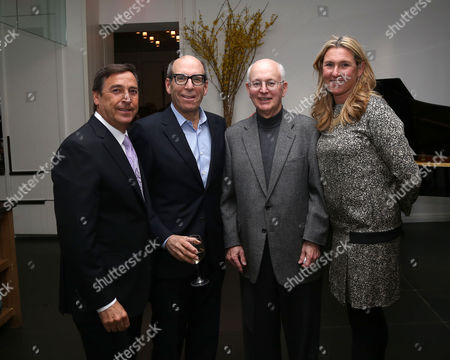 From left, CEO Horizon Media, Bill Koenigsberg, CEO Showtime, Matt Blank, former CEO ofA+E Networks, Nick Davatzes and A+E CEO, Nancy Dubuc attend A+E Networks celebration of chairman emeritus Abbe Raven at the Andaz Fifth Avenue, in New York