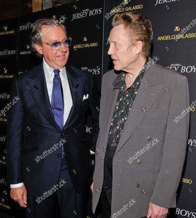 "Italian menswear designer Angelo Galasso, left, poses with actor Christopher Walken at the cocktail reception for a special screening of Clint Eastwood's new film ""Jersey Boys"" at the designer's boutique inside The Plaza on in New York"