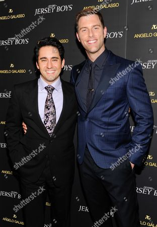 "Actors John Lloyd Young, left, and Michael Lomenda attend a cocktail reception for a special screening of the film ""Jersey Boys"" in the Angelo Galasso boutique inside The Plaza on in New York"