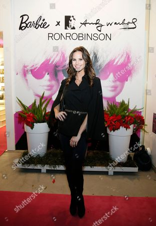 Celebrity Meghan King Edmonds poses at the exclusive Barbie x Andy Warhol launch at Ron Robinson celebrating two pop culture icons on in Santa Monica, Calif