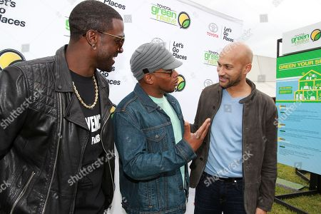 Actor Lance Gross, Sway Calloway and Keegan-Michael Key are seen at the Toyota Green Initiative Experience during Broccoli City Festival 2016, in Washington
