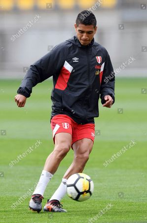 Peru's Paolo Hurtado kicks the ball during a final warm up prior to the Football World Cup qualifier against New Zealand at Westpac Stadium, Wellington, New Zealand, . Peru arrived in New Zealand for its World Cup playoff match without captain Paolo Guerrero, who is provisionally suspended after failing a doping test
