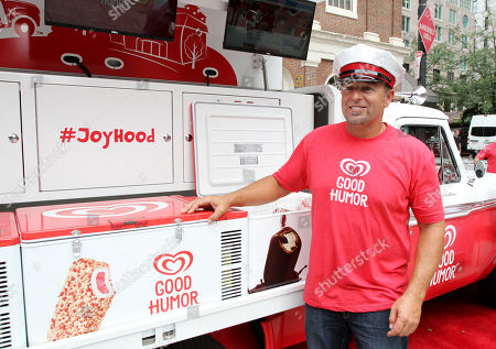 Professional baseball champion Kevin IMAGE DISTRIBUTED FOR GOOD HUMOR - Millar unveils the Good Humor Truck of the future, featuring digital screens, social media capabilities, and popular songs, at Sam Adams Park in Boston on . Follow @GoodHumor on Twitter as the Joy Squad travels around Boston this summer