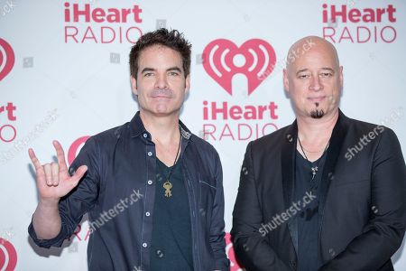 Patrick Monahan and Jimmy Stafford from Train arrive at the iHeartRadio Music Festival, at The MGM Grand Garden Arena in Las Vegas
