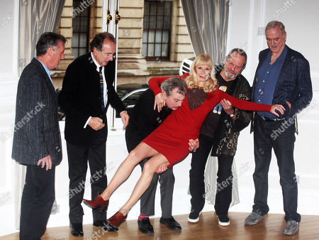 Michael Palin, Eric Idle, Terry Jones, Carol Cleveland,Terry Gilliam and John Cleese of the comedy troop Monty Python are seen at a photo call, on in London. They are reuniting for a project