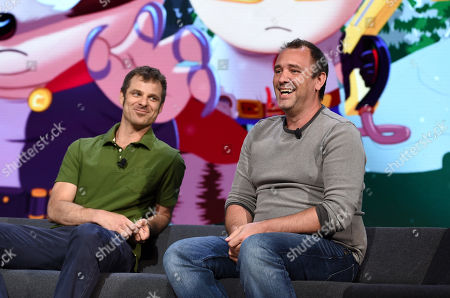 The writers of South Park Matt Stone, left, and Trey Parker speak at Ubisoft E3 2016 press conference at the Orpheum Theater, in Los Angeles